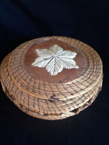 Vintage Sweet Grass With Birch Bark And Porqupine Quill Native Indian Basket
