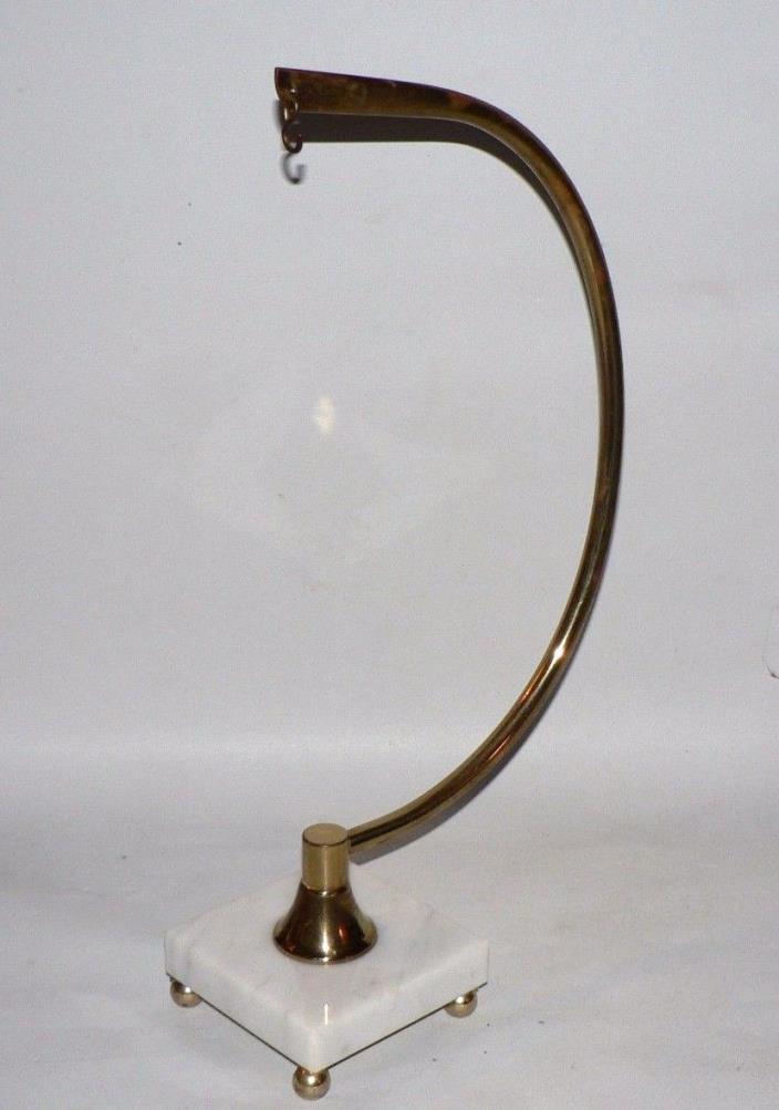 Vtg. Marble Base Brass Bird Cage Clock Stand