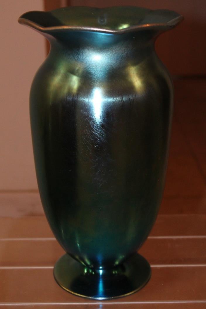 Authentic Huge Size Steuben Blue Aurene Vase, circa 1930's