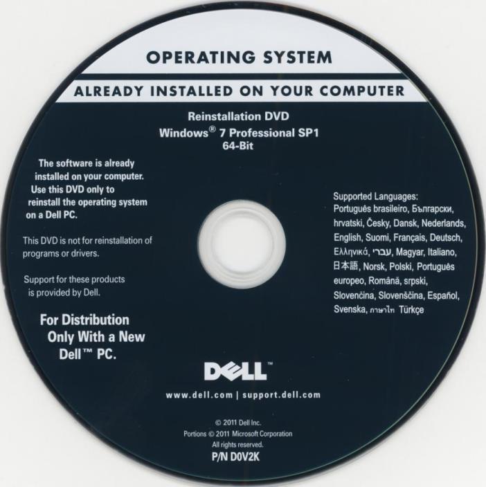 Dell Windows 7 Professional 64 bit restore DVD bundled w/memory