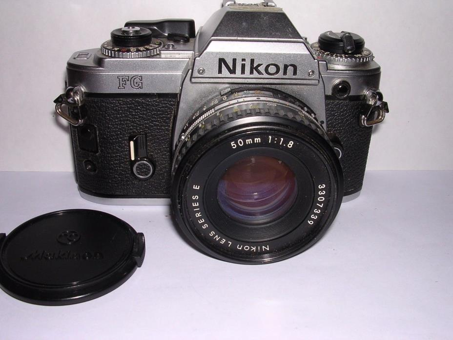 Vintage Nikon FG 35mm SLR Film Camera With Nikon Series E 50mm f:1.8 Lens NICE
