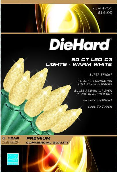 CHRISTMAS LIGHTS PREMIUM / DIEHARD 50 CT LED C6 WARM WHITE TEAR DROP / NIB!