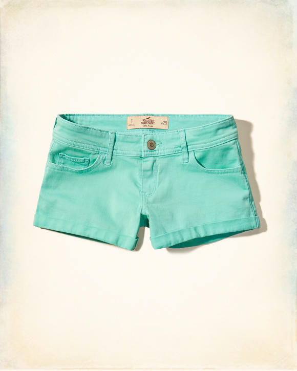 Hollister womens 11 turquoise short shorts twill low rise new