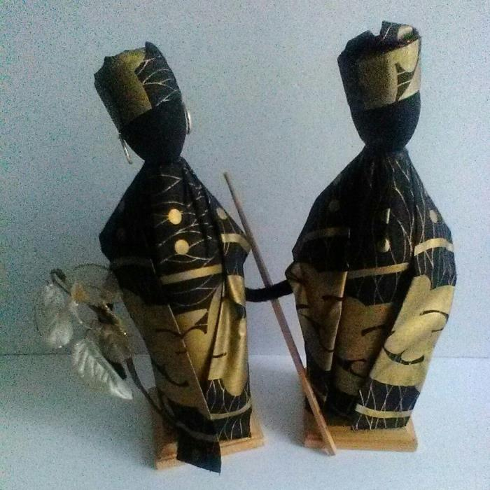 African Fabric Handmade Doll Statute Set  Male & Female  African Decor
