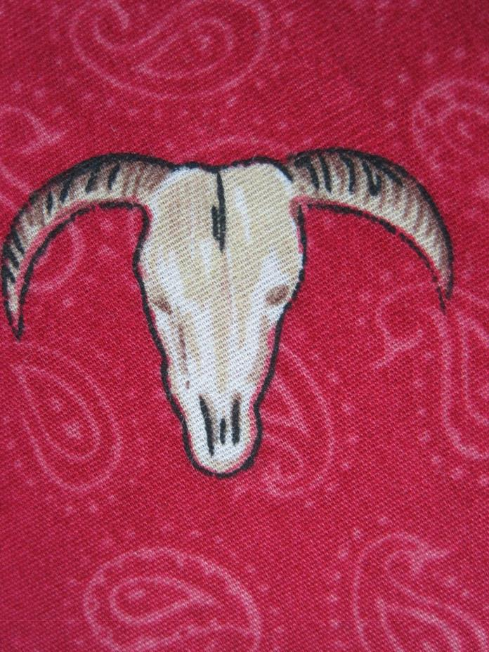 Fabric Western Cowboy Motifs 72 Inches X 44 Inches Red