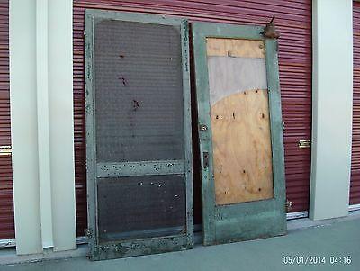 Huge Door(s) Antique store entry door  over 8 feet tall - hinges closer screen
