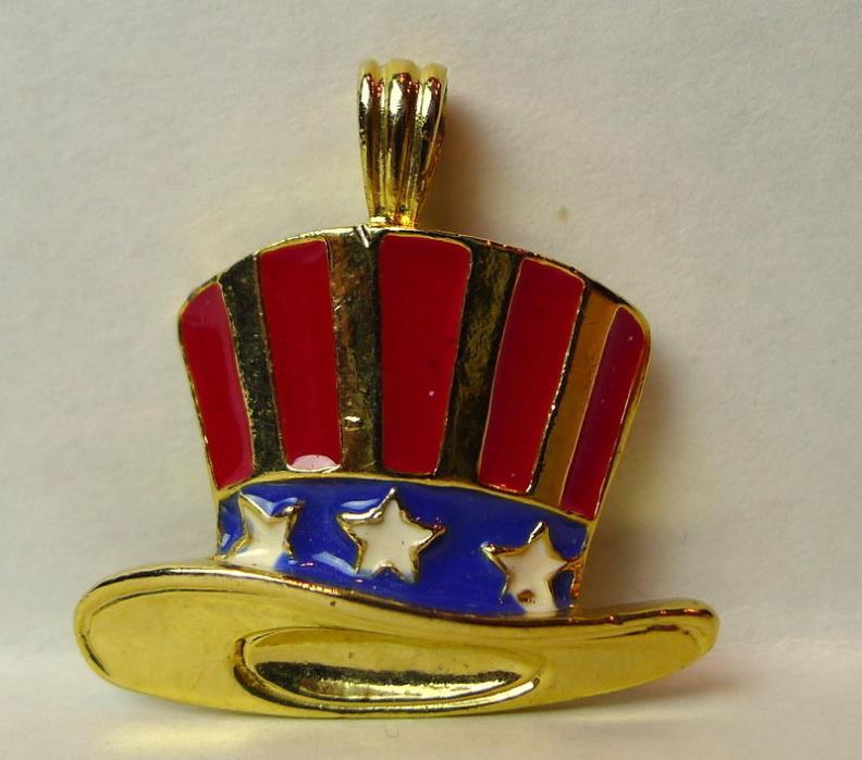 Uncle Sam Hat Patriotic Pendant Vintage 1995