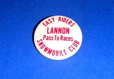 Vintage Easy Riders Snowmobile Club LANNON (WI) Pass to Races Pinback Button