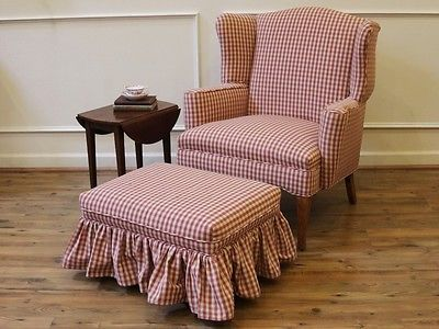 Vintage Red Gingham Wing Back Chair and Matching Ottoman Foot Stool.