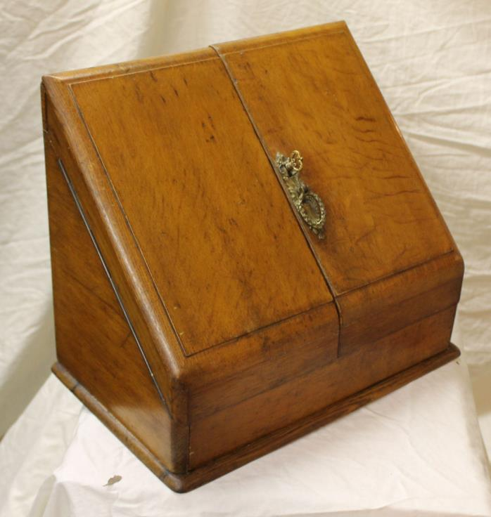 Antique Oak Writing Stationery Cabinet File Cabinet with key