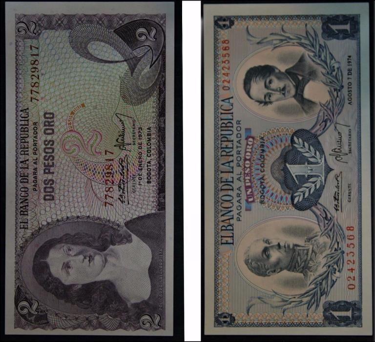 El Banco De La Republica Dos Pesos Oro 1973 & Un Peso Oro 1974 Bogota Columbia
