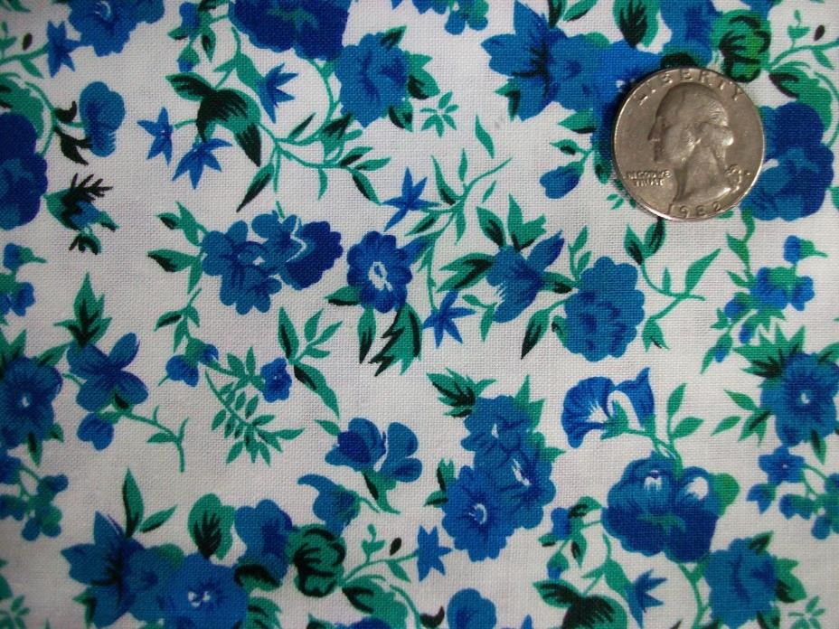 Small Blue Flowers on White Vintage Cotton Quilt Fabric 1+yards