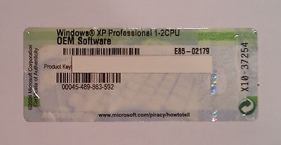 WINDOWS XP PRO EDITION OEM COA 2CPU WITH BROKEN DELL LAPTOP