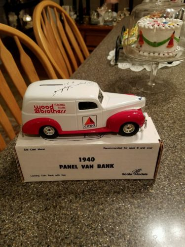 ERTL'S WOOD BROTHERS AUTOGRAPHED PANEL VAN BANK.