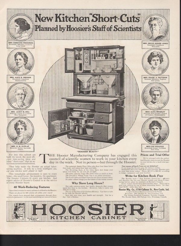 1917 HOOSIER CABINET KITCHEN FURNITURE APPLIANCE NEW CASTLE BRADLEY 16985