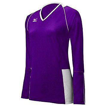 206264 Mizuno Women's Classic Kailua Long Sleeve Jersey, Purple/White, Large...