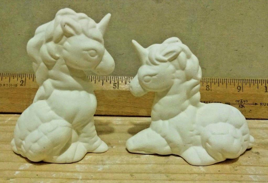 2 Unicorn horse for YOU to paint ceramic bisque Hand made Mold cast