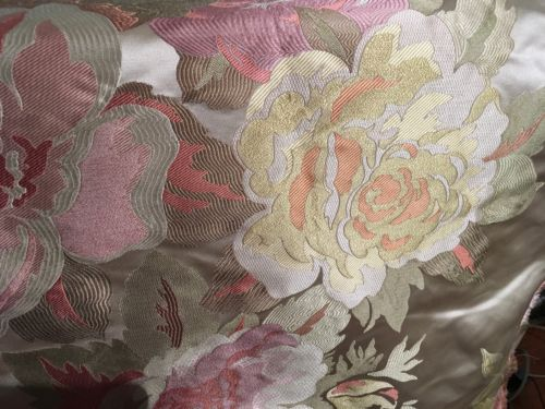 SPRING PINK LARGE FLORAL SATIN SILK LAMPAS FABRIC REMNANT, 1 Yd.