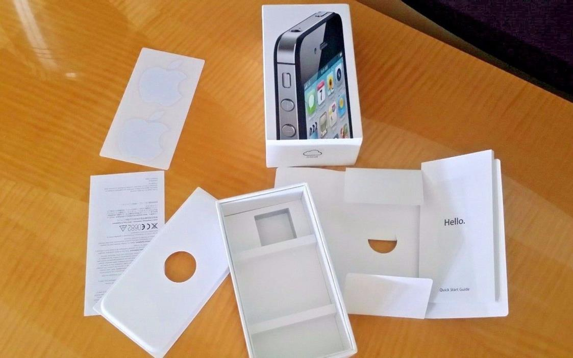 iphone 4s 32 GB Black Box ONLY ~ w/Tray + Guides + Apple Stickers