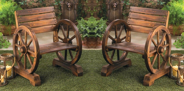 2 Charming RUSTIC wood WAGON WHEEL outdoor patio furniture GARDEN CHAIRS Pair