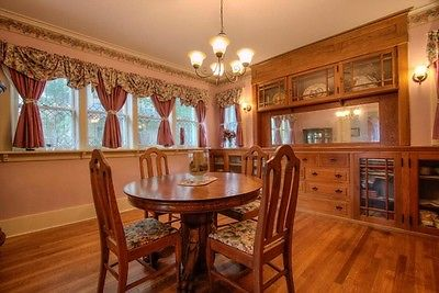antique dining room table and matching sideboard- oak claw foot  with 4 chairs