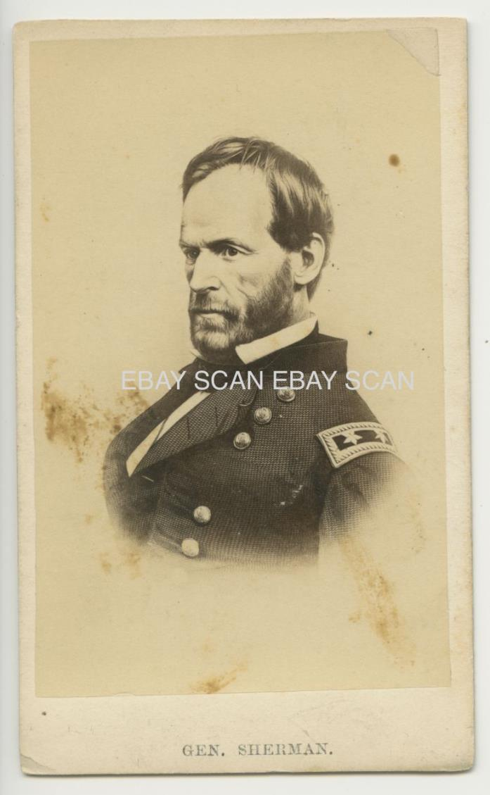 CIVIL WAR GENERAL WILLIAM TECUMSEH SHERMAN ANTIQUE CDV PHOTO