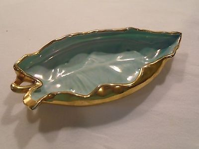 USA Pottery Aqua Blue / Gold Candy Dish