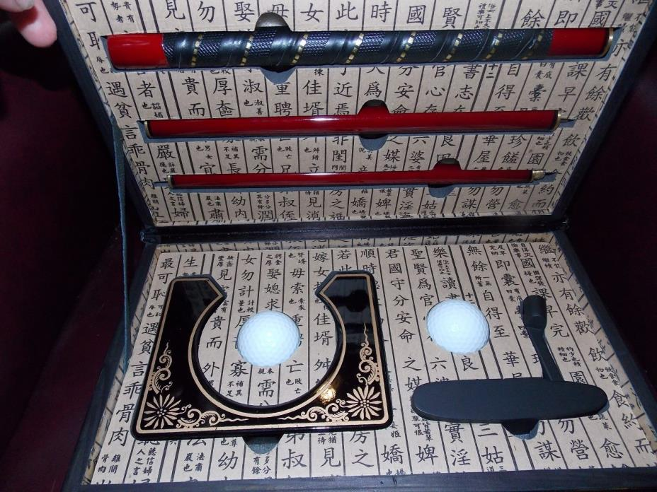 Practice Home Office Golf Putter Set Oriental Decorated Case  Japan