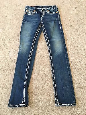 True Religion Brand Jeans, Girl's Embellished Blue Jeans, Stitching, Size 10