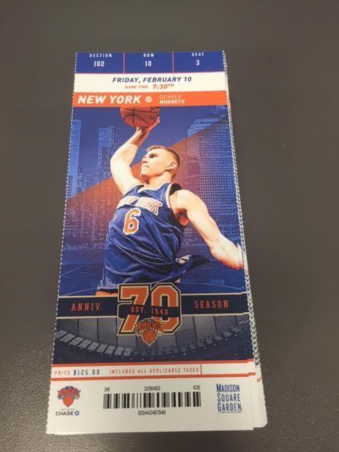 New York Knicks Denver Nuggets MINT Season Ticket 2/10/17 2017 NBA Stub