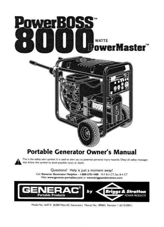Generator, Generac PowerBOSS 8000 Watts Powermaster