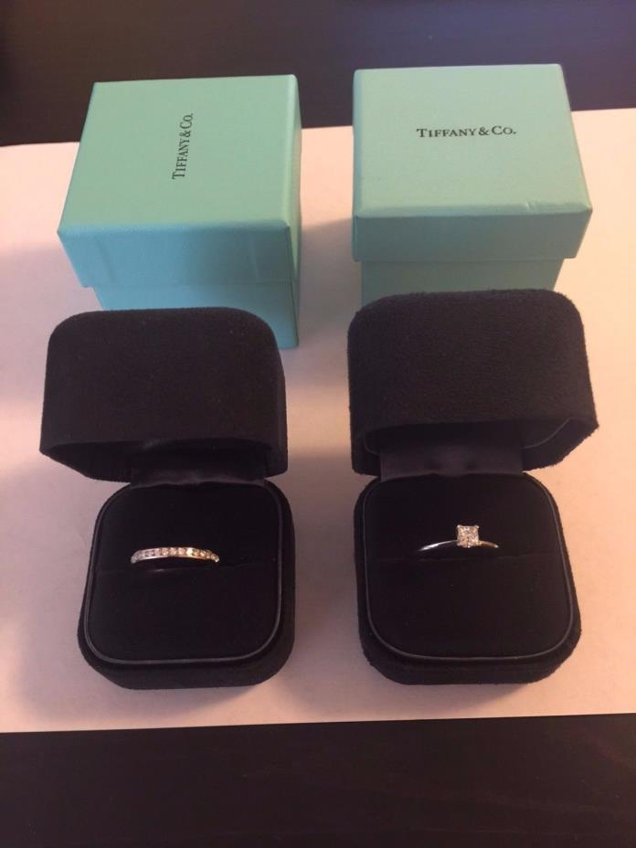 Tiffany platinum diamond engagement set wedding ring