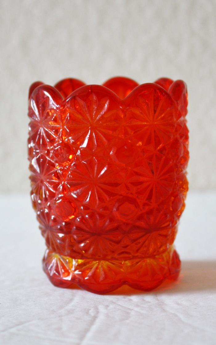 Vintage Red Amberina Glass Toothpick holder