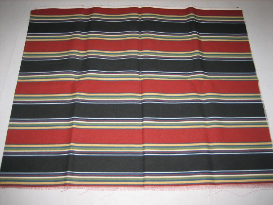Rust Black Yellow Blue Green Stripes Sewing and Craft Fabric - 64