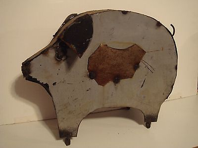Vintage Primitive Style Folk Art Pig Hog Sculpture Welded steel