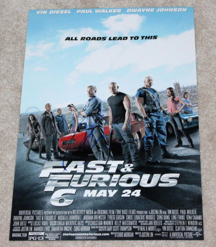 VIN DIESEL & TYRESE GIBSON SIGNED FAST & FURIOUS 12X18 MOVIE POSTER PHOTO w/COA