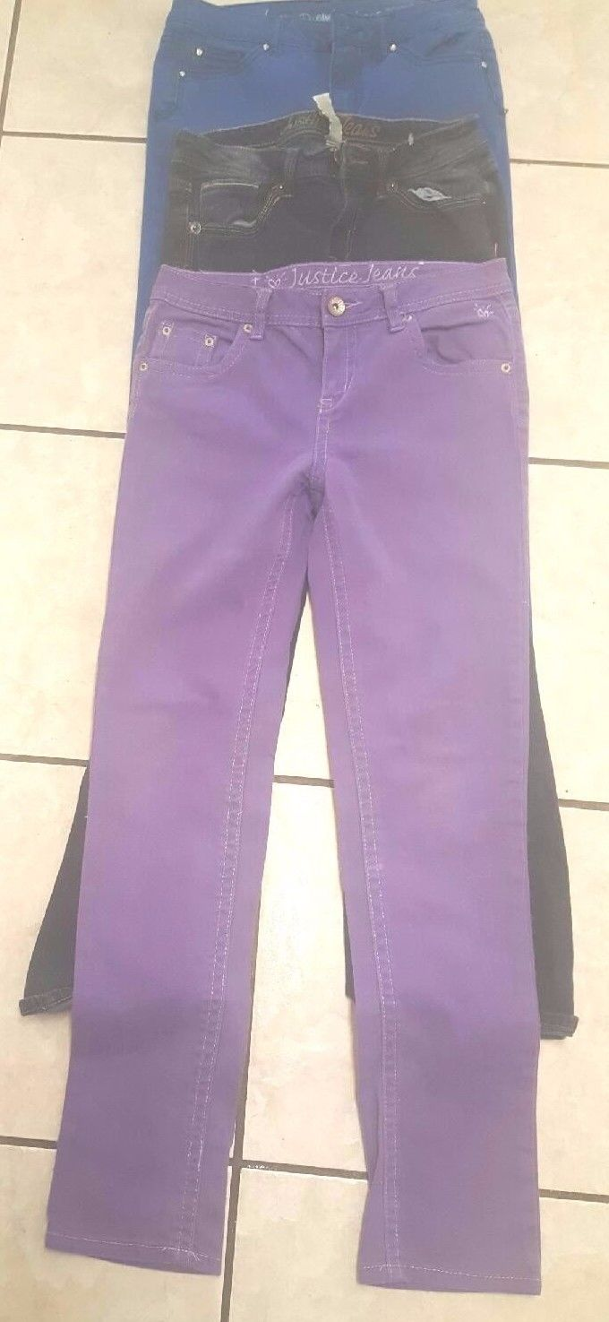 Lot Of 3 Girls Justice Jeans Denim Size 14 R Blue and Purple Skinny Jeans
