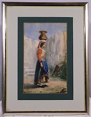 WATERCOLOR WOMAN WITH BOWL traditional DRESS MIDDLE EASTERN