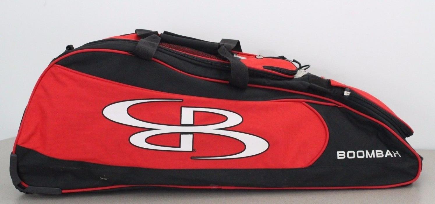 Boombah Baseball Softball Rolling Spartan Bat Bag Black Red STAINS