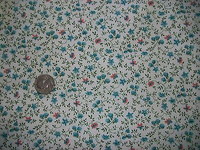 Vintage Cotton Calico Quilt Fabric White Aqua Coral Flower Berry Green Vine BTHY