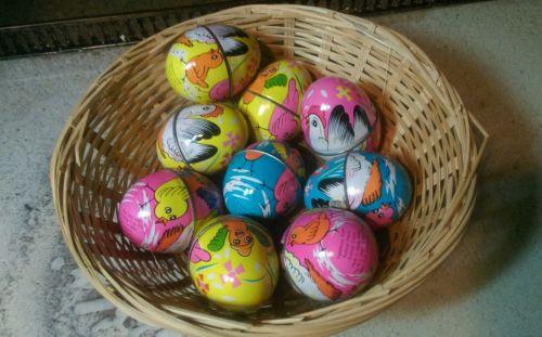 Lot (9) VINTAGE METAL EASTER EGG Candy holders HONG KONG