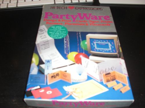 PartyWare Apple II IIe 2 vintage computer software print shop cards signs boxed