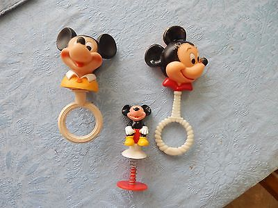 Vintage 1950's MICKEY MOUSE Baby Rattle, Mickey on Spring, Baby Rattle by Danara