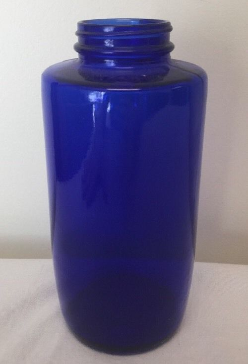 Vintage Cobalt Blue Decorative Transparent Vase Glass Bottle Without Lid*