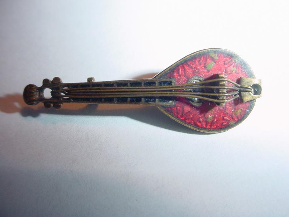 Antique Czech Czechoslovakia Guilloche Enamel Spelter Metal  Mandolin Pin Music