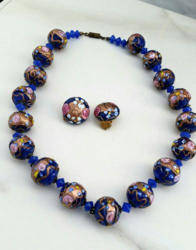 Vintage Venetian Murano Blue Glass Bead Wedding Cake Necklace and Earrings