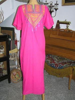 Vintage Long Pink Middle Eastern  Stitched Cotton Dress size S