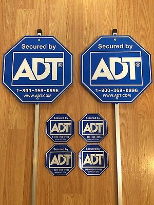 2 ADT Security Alarm Yard Signs & 4 Stickers - Waterproof , Reflective
