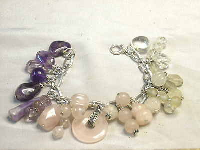 Vintage 925 Silver Braclet with Quartz Charms Purple to Pink to Clear Hand Made