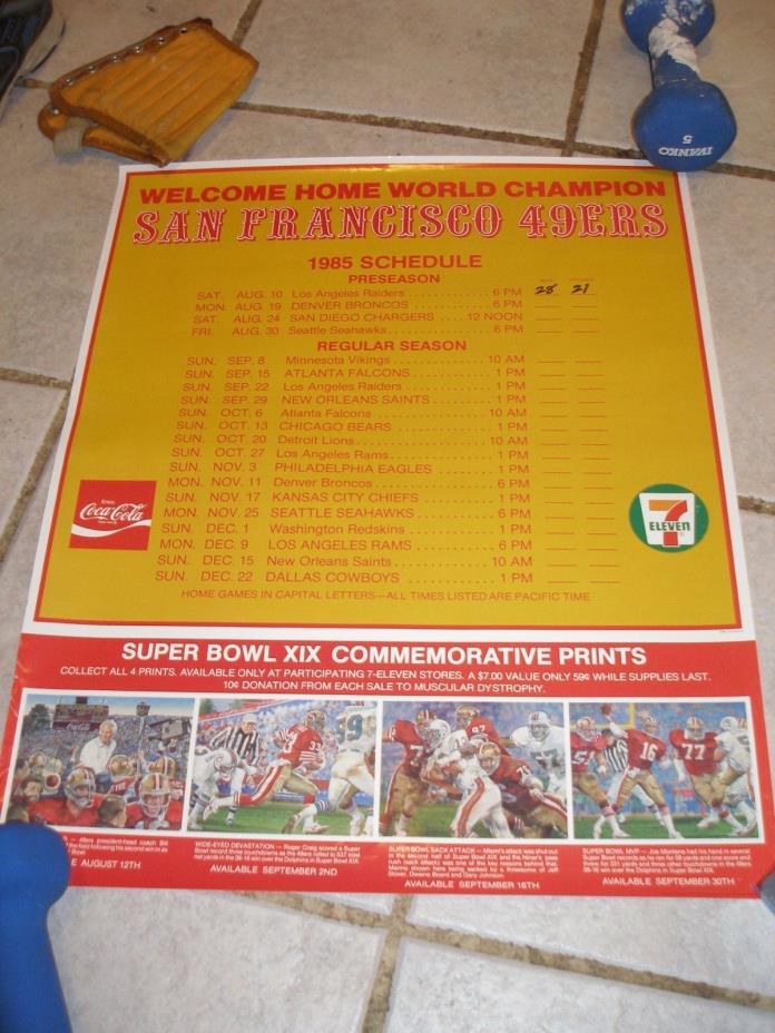 1985 San Francisco 49ers Super Bowl XIX Champion Schedule Poster Coca-Cola 7-11